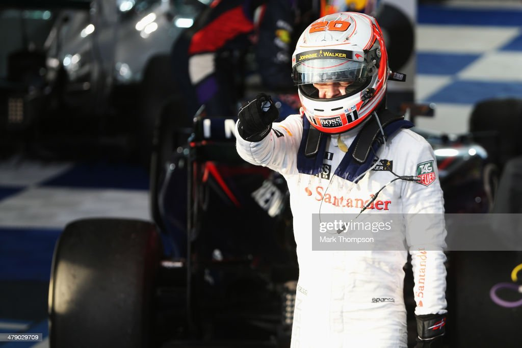 <a gi-track='captionPersonalityLinkClicked' href=/galleries/search?phrase=Kevin+Magnussen&family=editorial&specificpeople=7882003 ng-click='$event.stopPropagation()'>Kevin Magnussen</a> of Denmark and McLaren celebrates in parc ferme after finishing third during the Australian Formula One Grand Prix at Albert Park on March 16, 2014 in Melbourne, Australia.