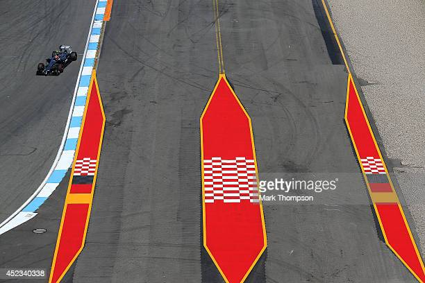 Kevin Magnussen of Denmark and McLaren drives during practice ahead of the German Grand Prix at Hockenheimring on July 18 2014 in Hockenheim Germany