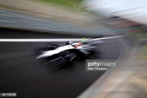 Kevin Magnussen of Denmark and McLaren drives during qualifying ahead of the British Formula One Grand Prix at Silverstone Circuit on July 5 2014 in...