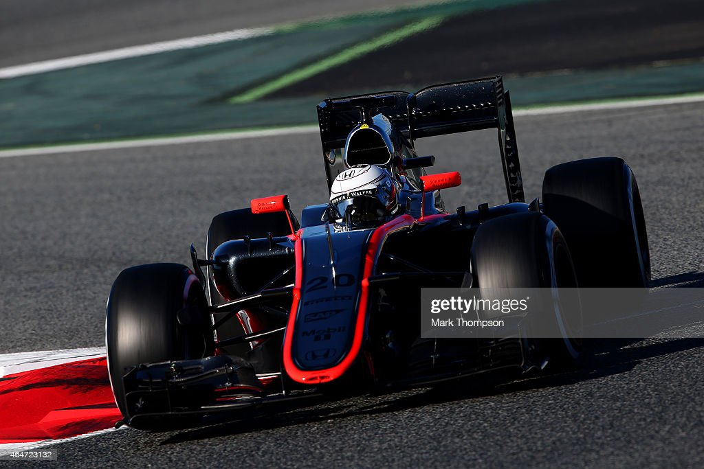 <a gi-track='captionPersonalityLinkClicked' href=/galleries/search?phrase=Kevin+Magnussen&family=editorial&specificpeople=7882003 ng-click='$event.stopPropagation()'>Kevin Magnussen</a> of Denmark and McLaren Honda drives during day three of the final Formula One Winter Testing at Circuit de Catalunya on February 28, 2015 in Montmelo, Spain.