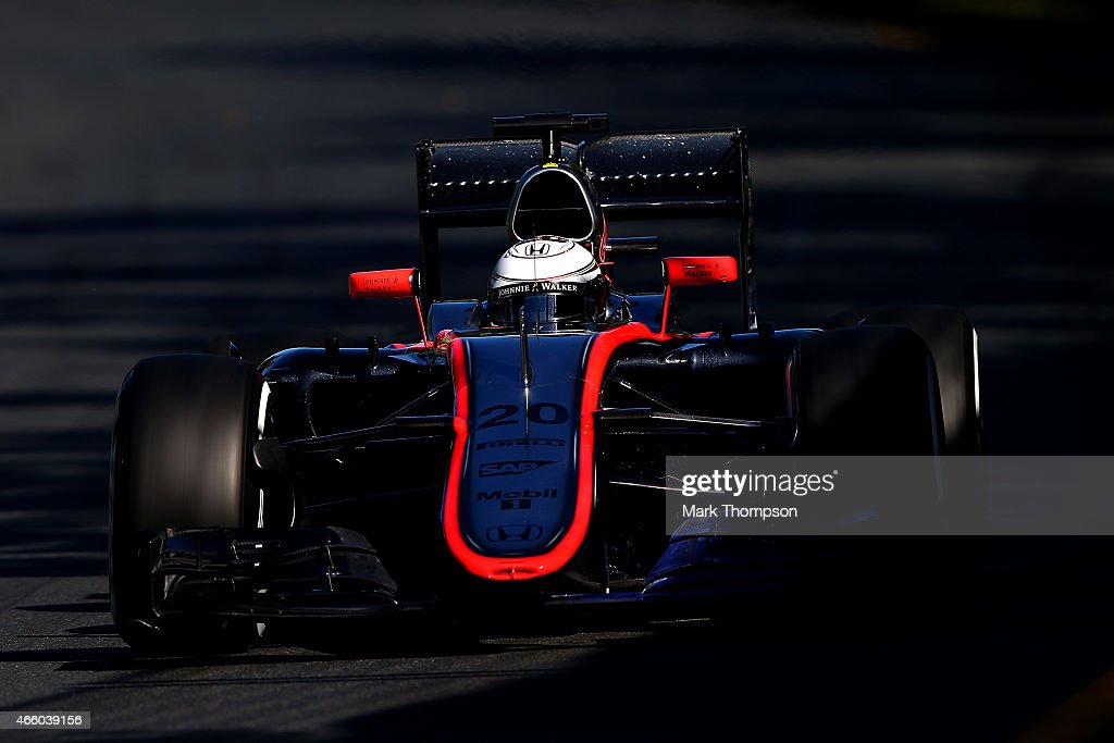 <a gi-track='captionPersonalityLinkClicked' href=/galleries/search?phrase=Kevin+Magnussen&family=editorial&specificpeople=7882003 ng-click='$event.stopPropagation()'>Kevin Magnussen</a> of Denmark and McLaren Honda drives during practice for the Australian Formula One Grand Prix at Albert Park on March 13, 2015 in Melbourne, Australia.