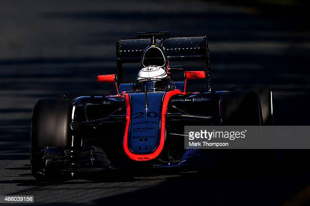 Kevin Magnussen of Denmark and McLaren Honda drives during practice for the Australian Formula One Grand Prix at Albert Park on March 13 2015 in...