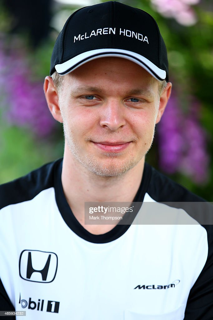 Kevin Magnussen of Denmark and McLaren Honda looks on in the paddock during previews to the Australian Formula One Grand Prix at Albert Park on March 12, 2015 in Melbourne, Australia.