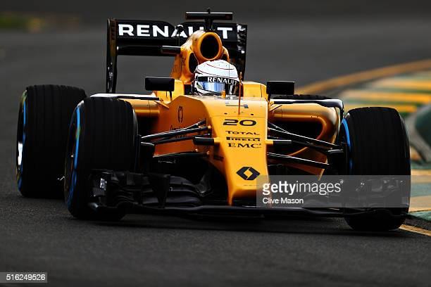 Kevin Magnussen of Denmark drives the Renault Sport Formula One Team Renault RS16 Renault RE16 turbo on track during practice ahead of the Australian...