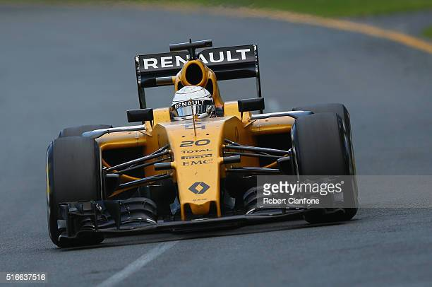 Kevin Magnussen of Denmark drives the Renault Sport Formula One Team Renault RS16 Renault RE16 turbo on track during the Australian Formula One Grand...