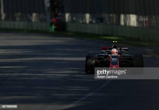 Kevin Magnussen of Denmark driving the Haas F1 Team HaasFerrari VF17 Ferrari on track during the Australian Formula One Grand Prix at Albert Park on...
