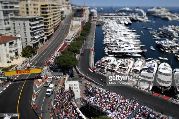 Kevin Magnussen of Denmark driving the Haas F1 Team HaasFerrari VF17 Ferrari on track during the Monaco Formula One Grand Prix at Circuit de Monaco...