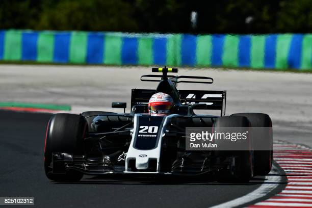 Kevin Magnussen of Denmark driving the Haas F1 Team HaasFerrari VF17 Ferrari on track during the Formula One Grand Prix of Hungary at Hungaroring on...