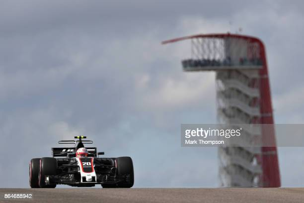 Kevin Magnussen of Denmark driving the Haas F1 Team HaasFerrari VF17 Ferrari on track during final practice for the United States Formula One Grand...