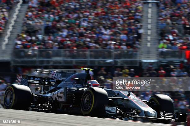 Kevin Magnussen of Denmark driving the Haas F1 Team HaasFerrari VF17 Ferrari on track during the United States Formula One Grand Prix at Circuit of...