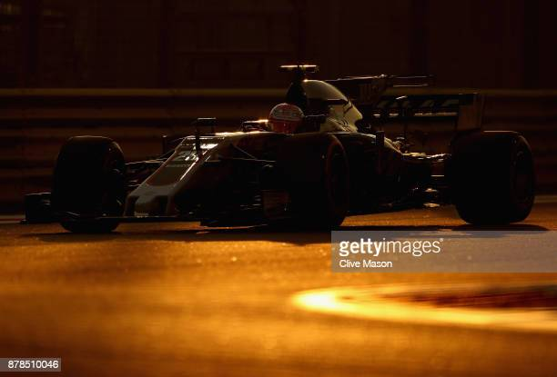 Kevin Magnussen of Denmark driving the Haas F1 Team HaasFerrari VF17 Ferrari on track during practice for the Abu Dhabi Formula One Grand Prix at Yas...