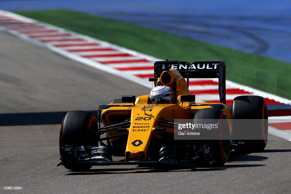 Kevin Magnussen of Denmark driving the (20) Renault Sport Formula One Team Renault RS16 Renault RE16 turbo on track during practice for the Formula One Grand Prix of Russia at Sochi Autodrom on April 29, 2016 in Sochi, Russia.