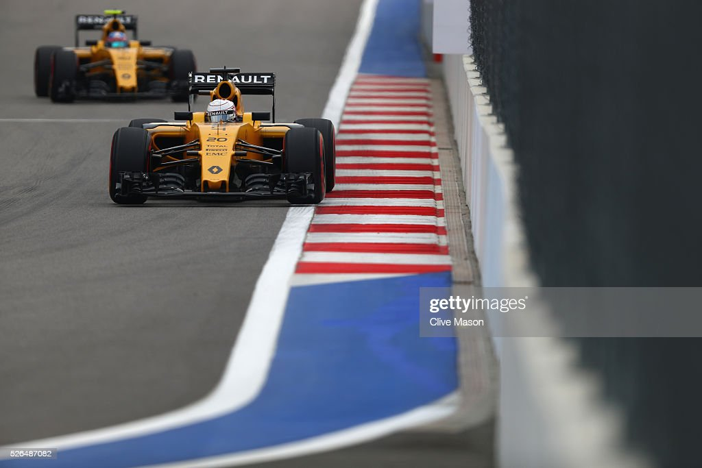 <a gi-track='captionPersonalityLinkClicked' href=/galleries/search?phrase=Kevin+Magnussen&family=editorial&specificpeople=7882003 ng-click='$event.stopPropagation()'>Kevin Magnussen</a> of Denmark driving the (20) Renault Sport Formula One Team Renault RS16 Renault RE16 turbo on track ahead of <a gi-track='captionPersonalityLinkClicked' href=/galleries/search?phrase=Jolyon+Palmer&family=editorial&specificpeople=7493068 ng-click='$event.stopPropagation()'>Jolyon Palmer</a> of Great Britain driving the (30) Renault Sport Formula One Team Renault RS16 Renault RE16 turbo during final practice ahead of the Formula One Grand Prix of Russia at Sochi Autodrom on April 30, 2016 in Sochi, Russia.