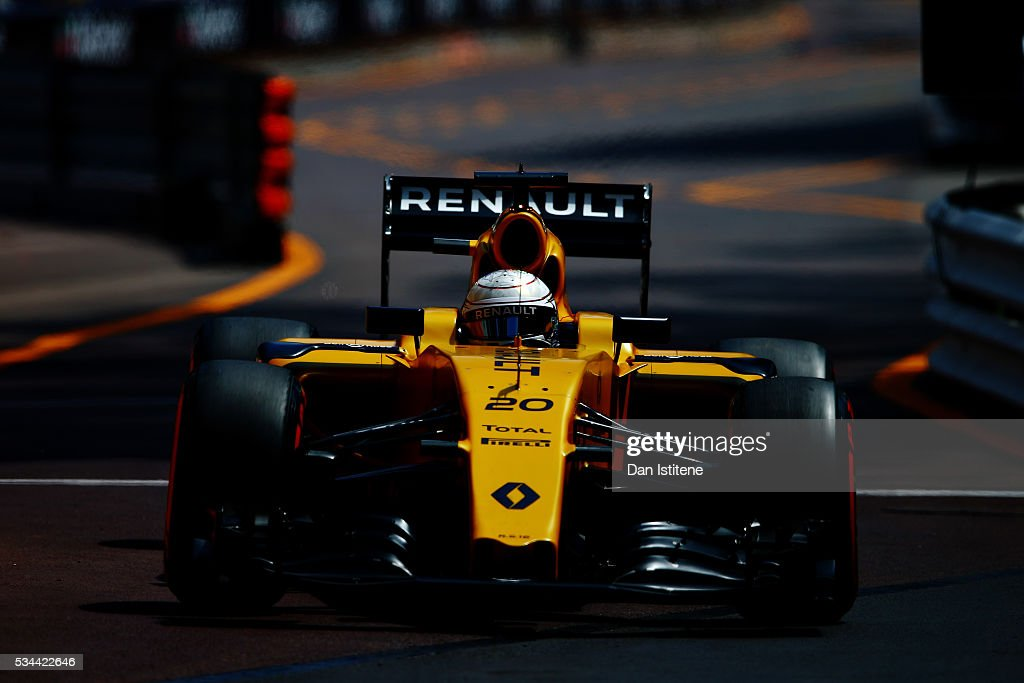 Kevin Magnussen of Denmark driving the (20) Renault Sport Formula One Team Renault RS16 Renault RE16 turbo on track during practice for the Monaco Formula One Grand Prix at Circuit de Monaco on May 26, 2016 in Monte-Carlo, Monaco.