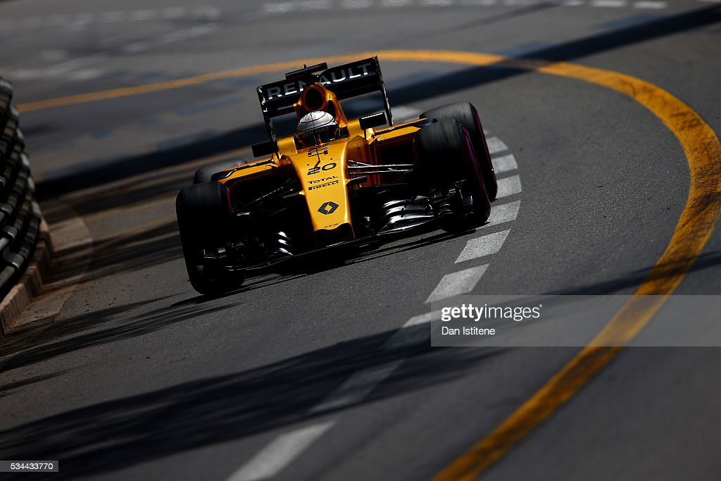 <a gi-track='captionPersonalityLinkClicked' href=/galleries/search?phrase=Kevin+Magnussen&family=editorial&specificpeople=7882003 ng-click='$event.stopPropagation()'>Kevin Magnussen</a> of Denmark driving the (20) Renault Sport Formula One Team Renault RS16 Renault RE16 turbo on track during practice for the Monaco Formula One Grand Prix at Circuit de Monaco on May 26, 2016 in Monte-Carlo, Monaco.