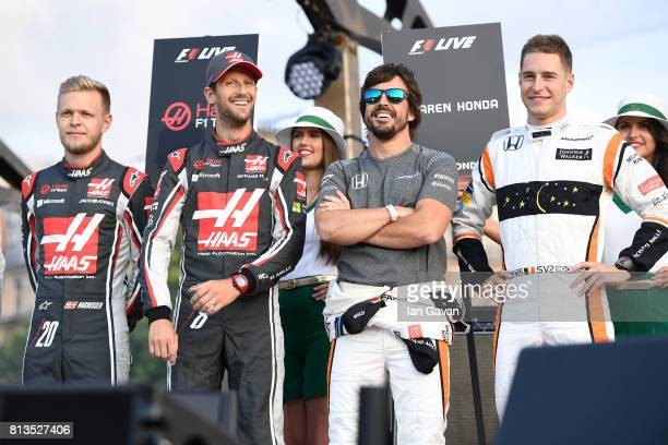 Kevin Magnussen Romain Grosjean Fernando Alonso and Stoffel Vandoorne on stage at the F1 Live in London event at Trafalgar Square on July 12 2017 in...
