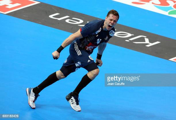 Kevin Mahe of France celebrates a goal during the 25th IHF Men's World Championship 2017 Final between France and Norway at Accorhotels Arena on...