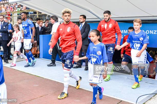 Kevin Malcuit of Lille during the Ligue 1 match between Racing Club Strasbourg and Lille OSC at Stade de la Meinau on August 13 2017 in Strasbourg