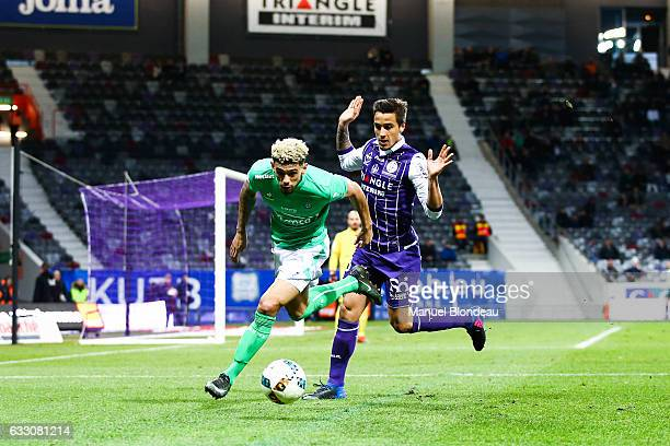 Kevin Malcuit of Saint Etienne and Oscar Trejo of Toulouse during the French Ligue 1 match between Toulouse and Saint Etienne at Stadium Municipal on...
