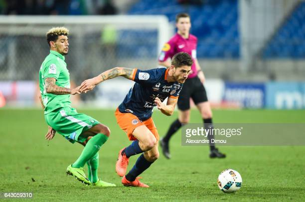 Kevin Malcuit of Saint Etienne and Paul Lasne of Montpellier during the French Ligue 1 match between Montpellier and Saint Etienne at Stade de la...