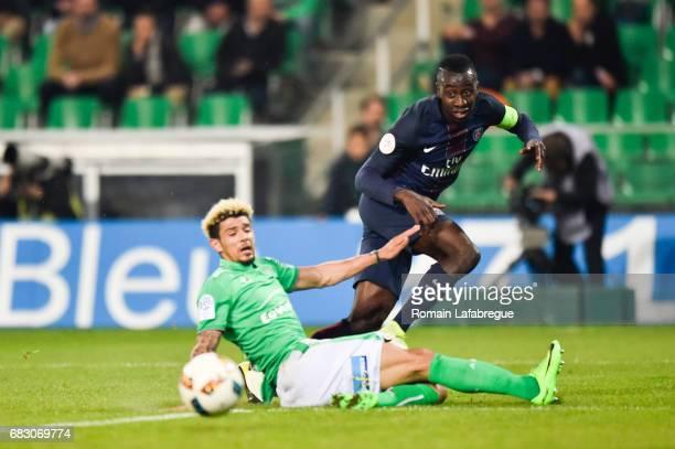 Kevin Malcuit of Saint Etienne Blaise Matuidi of Paris during the Ligue 1 match between AS Saint Etienne and Paris Saint Germain PSG at Stade...