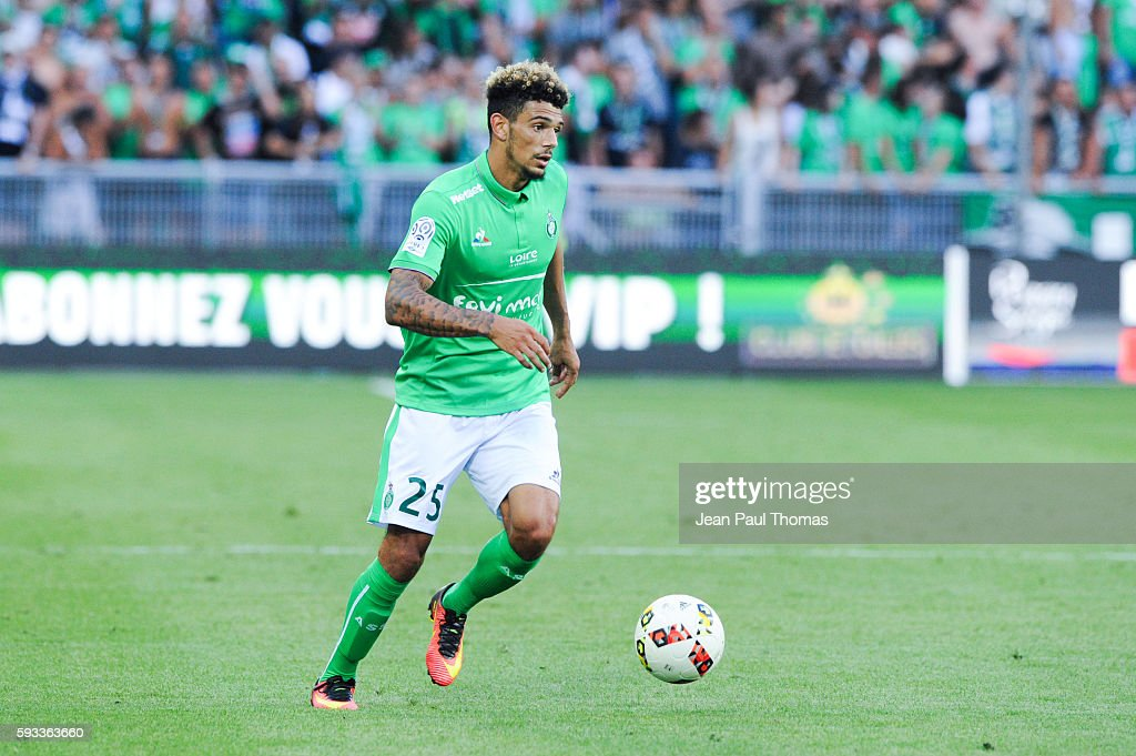 Kevin MALCUIT of Saint Etienne during the Ligue 1 match between As Saint Etienne and Montpellier Herault at Stade GeoffroyGuichard on August 21 2016...