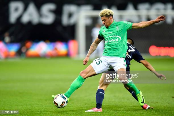 Kevin Malcuit of Saint Etienne during the Ligue 1 match between As Saint Etienne and Girondins de Bordeaux at Stade GeoffroyGuichard on May 5 2017 in...