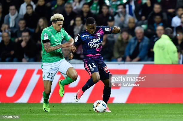 Kevin Malcuit of Saint Etienne Francois Kamano during the Ligue 1 match between As Saint Etienne and Girondins de Bordeaux at Stade GeoffroyGuichard...