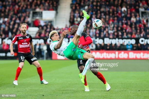 Kevin Malcuit of SaintEtienne and Jordan Ikoko of Guingamp during the French Ligue 1 match between Guingamp and Saint Etienne at Stade du Roudourou...