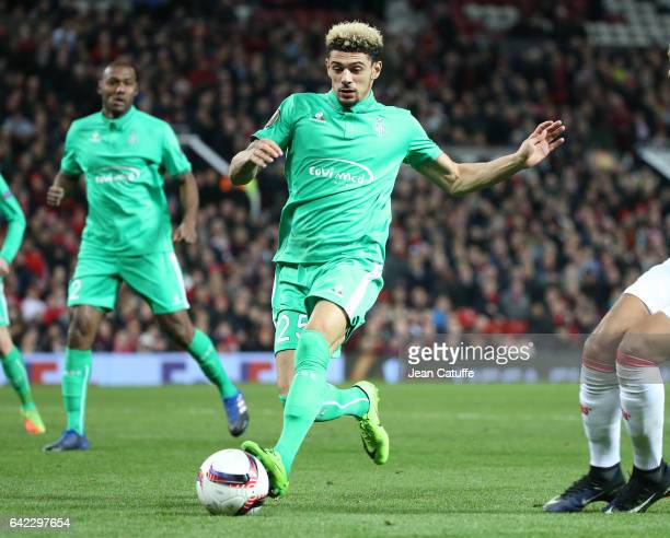 Kevin Malcuit of SaintEtienne in action during the UEFA Europa League Round of 32 first leg match between Manchester United and AS SaintEtienne at...