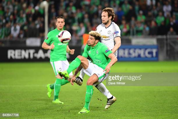 Kevin Malcuit of St Etienne and Daley Blind of Man Utd during the Europa League match between AS Saint Etienne and Manchester United at Stade...