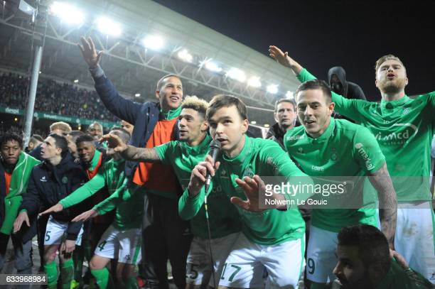 Kevin Malcuit Ole Selnaes and Nolan Roux of Saint Etienne during the Ligue 1 match between As Saint Etienne and Olympique Lyonnais Lyon at Stade...