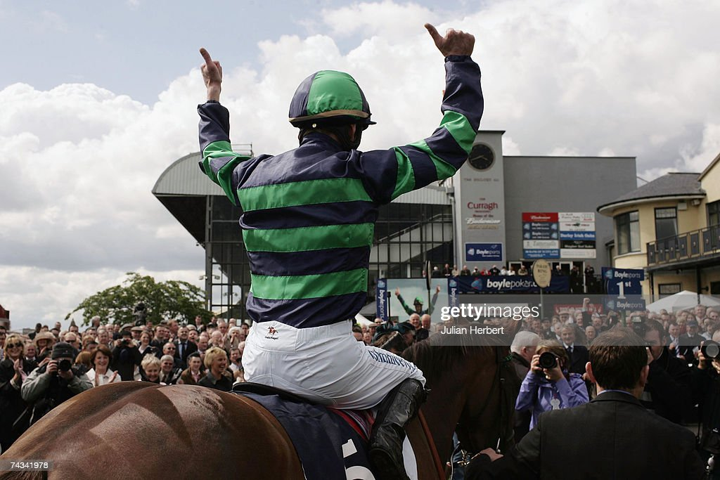 Kevin Manning and Finsceal Beo return after landing The Boylesports Irish 1000 Guineas Race run at The Curragh Racecourse on May 27 in The Curragh...