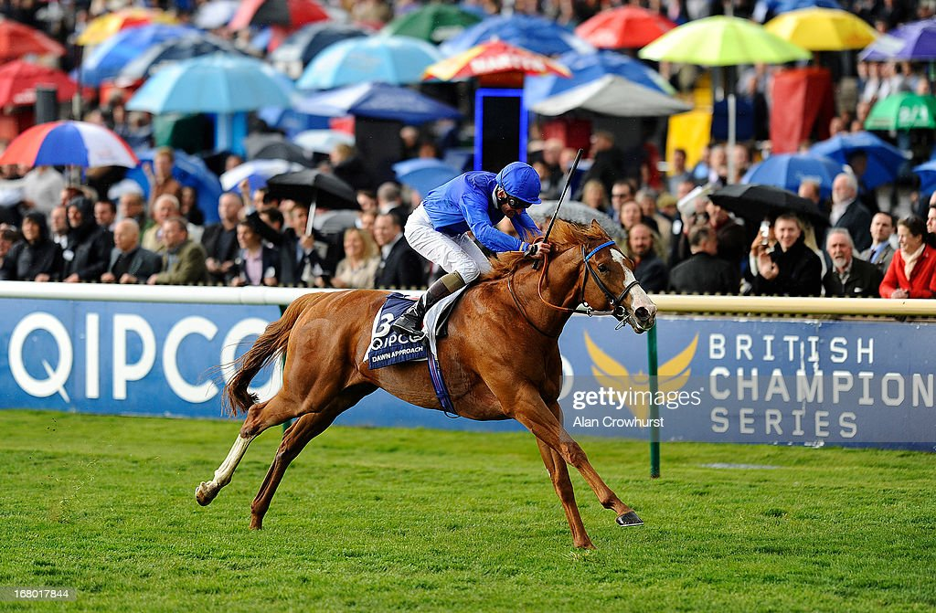 Kevin Manning riding Dawn Approach wins The Qipco 2000 Guineas Stakes at Newmarket racecourse on May 04, 2013 in Newmarket, England.