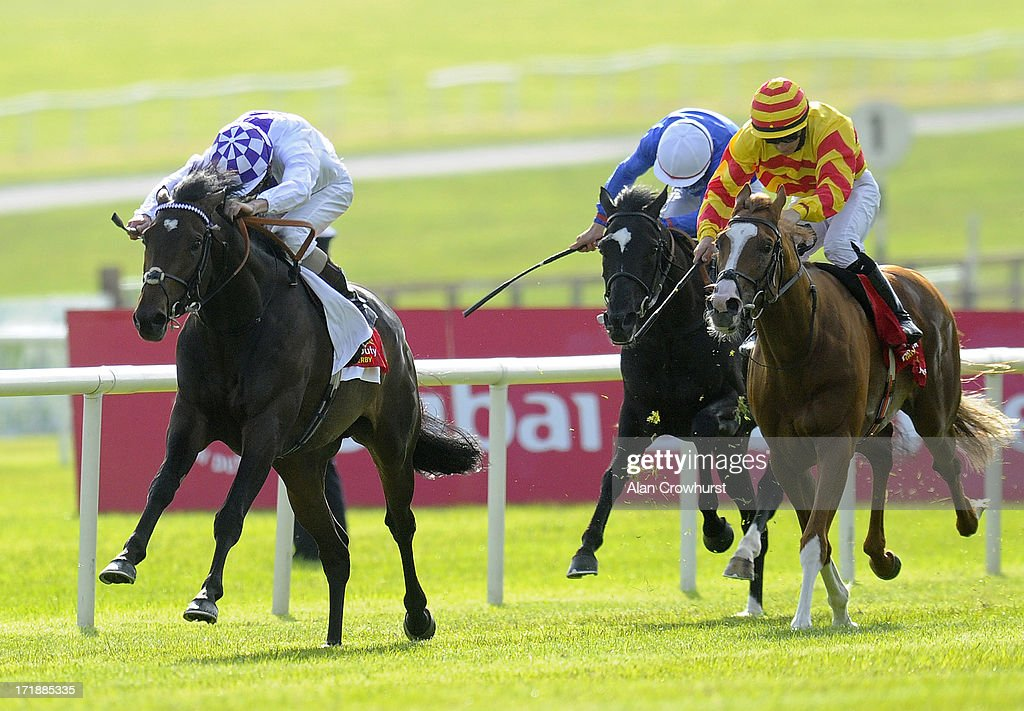 Kevin Manning riding Trading Leather (L) win The Dubai Duty Free Irish Derby at Curragh racecourse on June 29, 2013 in Kildare, Ireland.