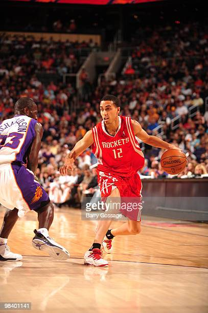 Kevin Martin of the Houston Rockets drives against Jason Richardson of the Phoenix Suns in an NBA Game played on April 11 2010 at US Airways Center...