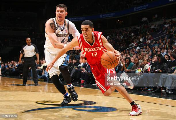Kevin Martin of the Houston Rockets drives against Mike Miller of the Washington Wizards at the Verizon Center on March 9 2010 in Washington DC NOTE...