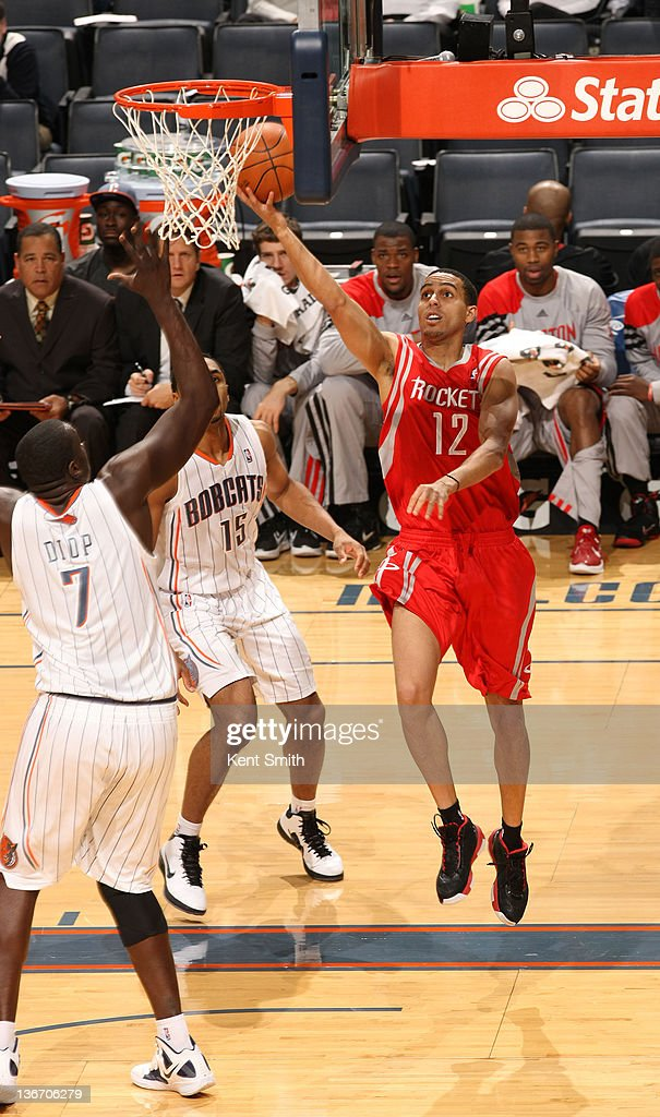 Kevin Martin #12 of the Houston Rockets shoots against Desagana Diop #7 of the Charlotte Bobcats during the game at the Time Warner Cable Arena on January 10, 2012 in Charlotte, North Carolina.