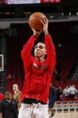 Kevin Martin of the Houston Rockets warms up before the game against the Indiana Pacers on February 20 2010 at the Toyota Center in Houston Texas...