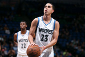 Kevin Martin of the Minnesota Timberwolves attempts a free throw against the Boston Celtics on January 28 2015 at Target Center in Minneapolis...