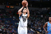 Kevin Martin of the Minnesota Timberwolves attempts a free throw against the Oklahoma City Thunder on April 15 2015 at Target Center in Minneapolis...