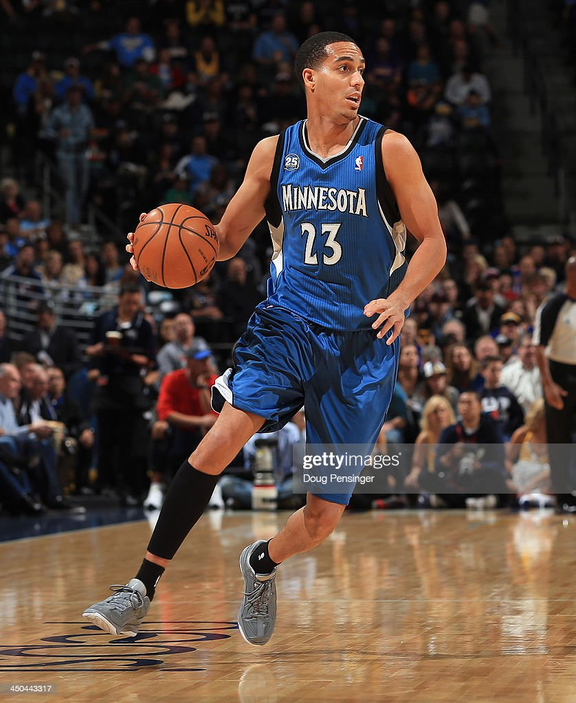 Kevin Martin of the Minnesota Timberwolves controls the ball against the Denver Nuggets at Pepsi Center on November 15 2013 in Denver Colorado The...