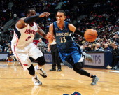 Kevin Martin of the Minnesota Timberwolves drives against the Atlanta Hawks on February 1 2014 at Philips Arena in Atlanta Georgia NOTE TO USER User...