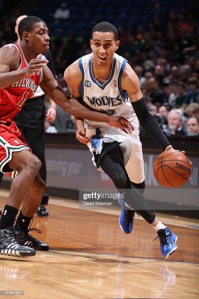 Kevin Martin #23 of the Minnesota Timberwolves drives against the Milwaukee Bucks on March 11, 2014 at Target Center in Minneapolis, Minnesota.