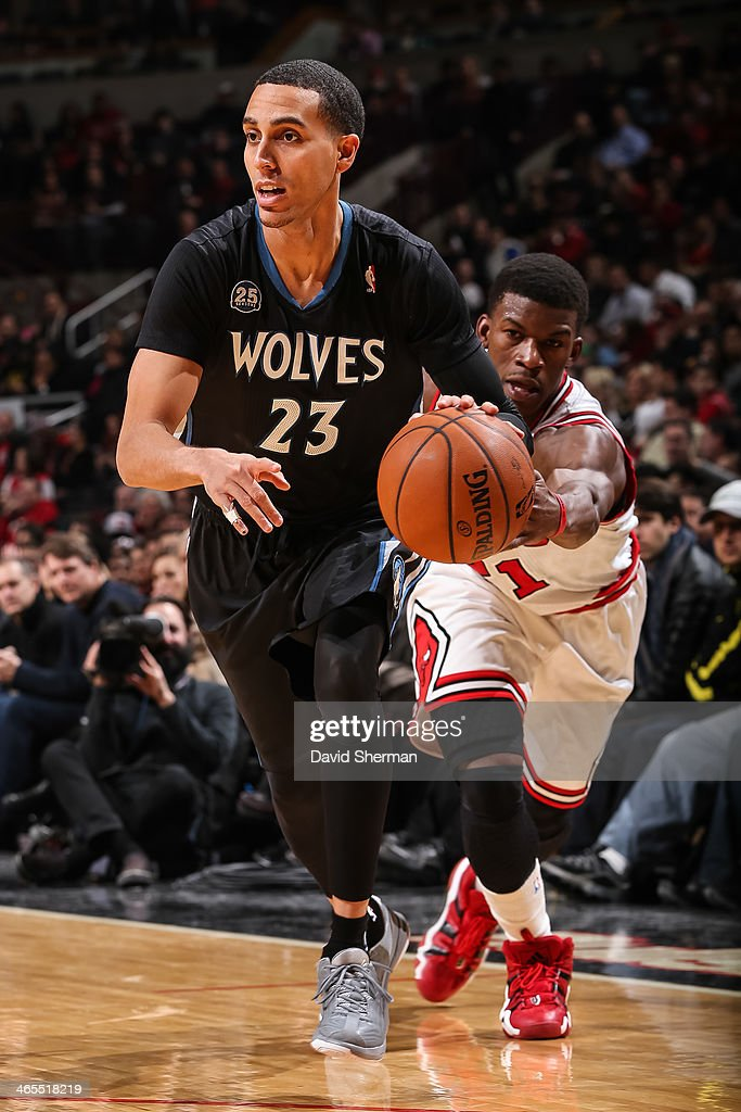 Kevin Martin #23 of the Minnesota Timberwolves drives against the Chicago Bulls on January 27, 2014 at the United Center in Chicago, Illinois.