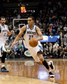 Kevin Martin of the Minnesota Timberwolves drives to the basket during the game against the Orlando Magic on October 30 2013 at Target Center in...