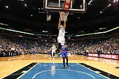 Kevin Martin of the Minnesota Timberwolves goes for the dunk against the New York Knicks during the game on November 19 2014 at Target Center in...