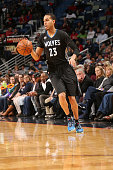 Kevin Martin of the Minnesota Timberwolves handles the ball against the New Orleans Pelicans on January 19 2016 at Smoothie King Center in New...