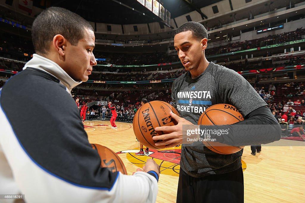 Kevin Martin #23 of the Minnesota Timberwolves hands the ball to the official before the game against the Chicago Bulls on January 27, 2014 at the United Center in Chicago, Illinois.