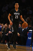 Kevin Martin of the Minnesota Timberwolves in action against the New York Knicks during their game at Madison Square Garden on March 19 2015 in New...